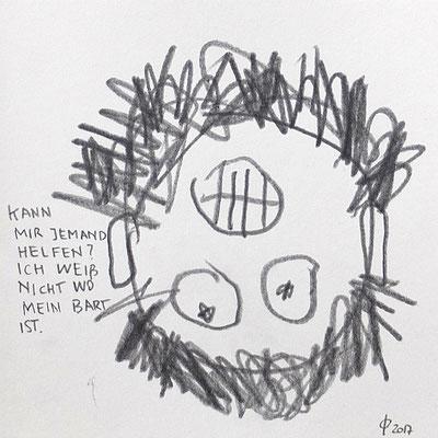 """""""Kann mir jemand helfen? Ich weiß nicht, wo mein Bart ist"""", Graphit auf Papier, 20 x 20 cm, 2017"""