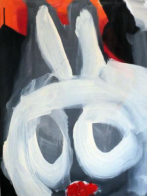 """Follow the white rabbit"" (für Alice, Marina und Joseph), Acryl auf Leinwand, 60 x 80 cm, 2018"