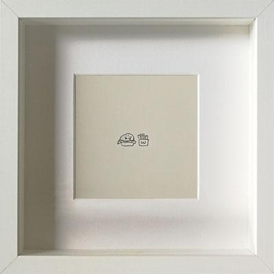 Wut-Burger, 2019, 20 x 20 cm, Graphit auf Papier, gerahmt