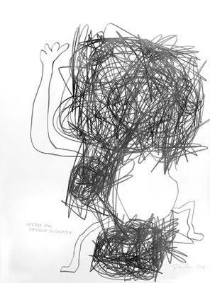 wieder schlecht geschlafen, 2018, 70 x 50 cm, Graphit auf Karton