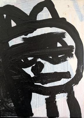 Armer schwarzer Kater, 2019, 20 x 30 cm, Acryl auf Leinwand