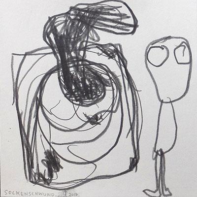 Sockenschwund, 2017, 20 x 20 cm, Graphit auf Papier