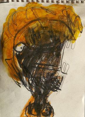 Hohes C 1, 2015, 7,5 x 10 cm, Graphit, Wachsstift auf Papier