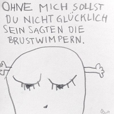 ohne mich sollst du nicht glücklich sein, sagten die Brustwimpern, 2017, 20 x 20 cm, Graphit auf Papier