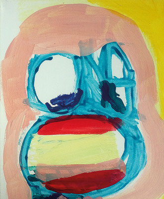 Frau ohne Haare aber mit Lippenstift, 2017, 30 x 40 cm, Acryl auf Leinwand