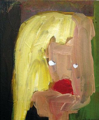 genervte Blondine, 2018, 30 x 40 cm, Acryl auf Leinwand