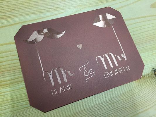 Hochzeitseinladund auf Kupferplatte -Diamantgravur mit CNC Maschine-