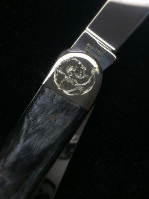 Taschenmesser mit Alpacca einlagen  - Motivgravur-