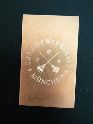 Visitenkarte aus Kupfer   -Diamantgravur-