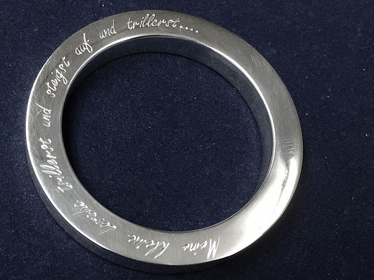 Silber Armreif mit Faksimile Gravur