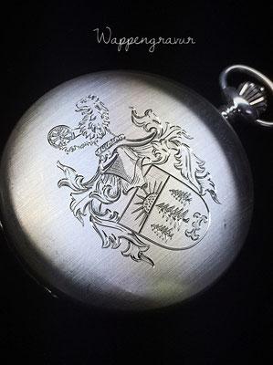 Taschenuhr mit Wappengravur