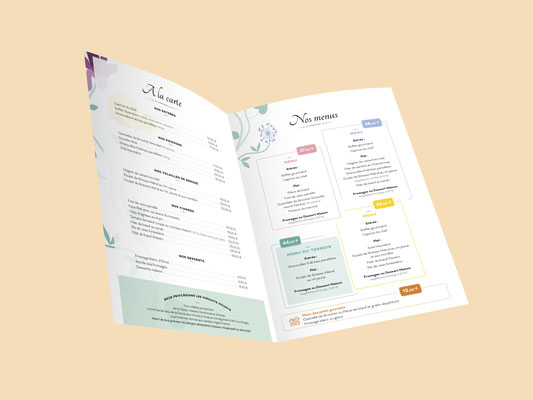 Agence communication Un Degré Cinq - Création de la carte des menus du restaurant Versaud à Viriat