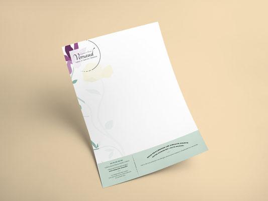 Agence communication Un Degré Cinq - Création du papier en-tête du restaurant Versaud à Viriat