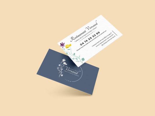 Agence communication Un Degré Cinq - Création de la carte de visite du restaurant Versaud à Viriat