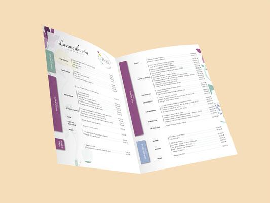 Agence communication Un Degré Cinq - Création de la carte des vins du restaurant Versaud à Viriat
