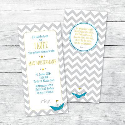 Einladung zur Taufe, Flachkarte DIN lang