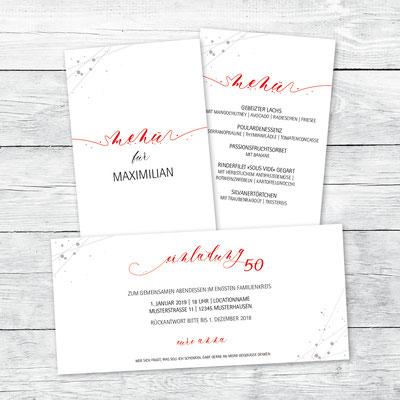 Einladung und Menükarte zum Geburtstag, Flachkarte DIN lang