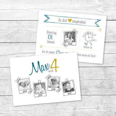 Einladung zum Kindergeburtstag, Flachkarte DIN A6