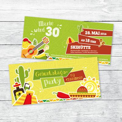 Einladung zum Geburtstag, Flachkarte DIN lang