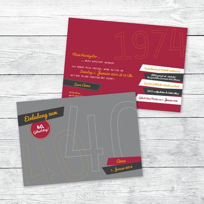 Einladung zum Geburtstag, Flachkarte DIN A6