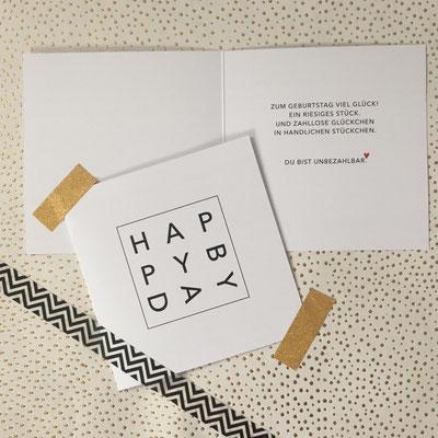 Glückwunschkarte zum Geburtstag, 115 x 115 mm
