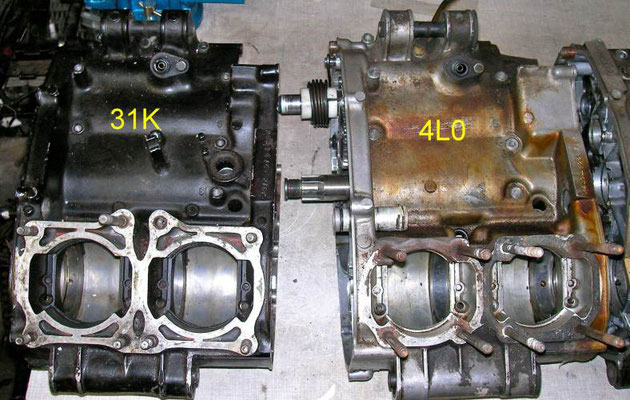 Four generations of engine cases - Tuning Yamaha RD 250 350 LC YPVS