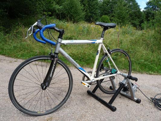 un rare vélo de course a roues 650 C, sauvé de la déchetterie et devenu générateur de bonne humeur!