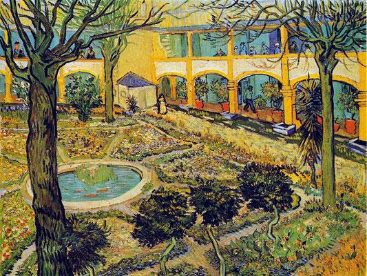 """""""le jardin de la maison de santé"""" by Vincent Van Gogh"""