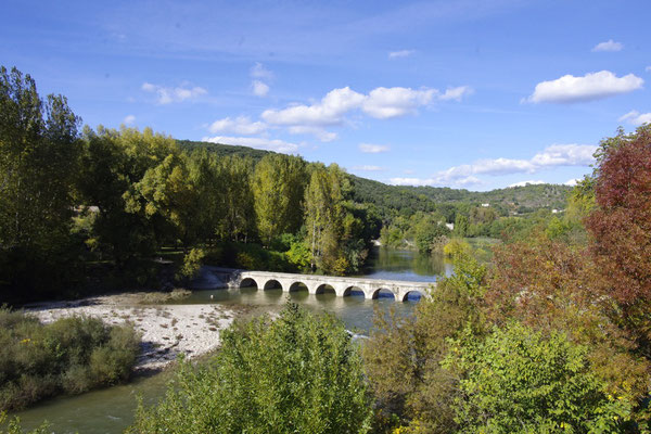 The bridge on the Cèze river in Montclus