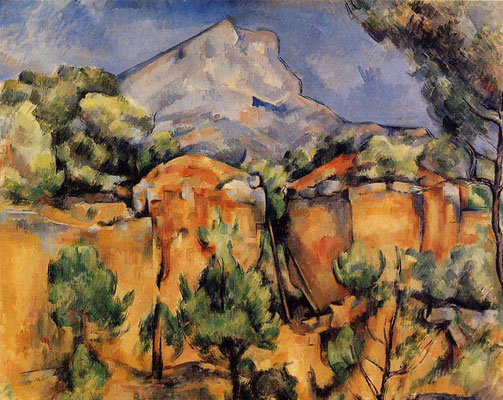 Paul Cézanne,the Sainte-Victoire mountain  seen from the Bibémus quarries
