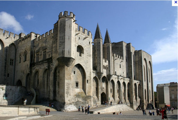 The pope palace in Avignon, the largest gothic castle worldwide