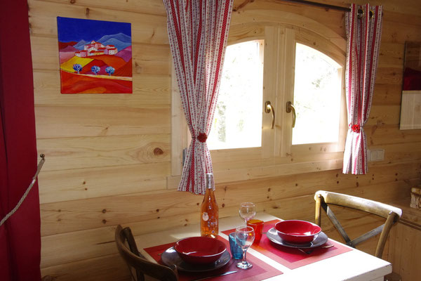 The dining table in the gipsy caravan