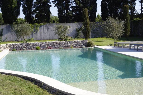 la piscine, au premier plan la plage d'eau de 50 cm de profondeur