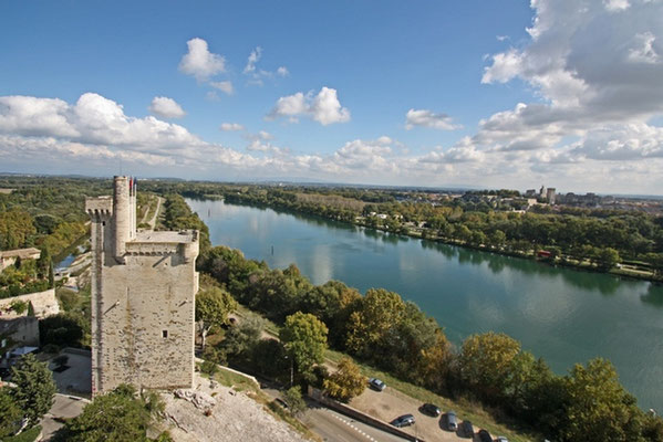 The river Rhône and the Philippe le Bel tower