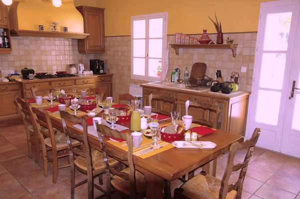 the large family kitchen