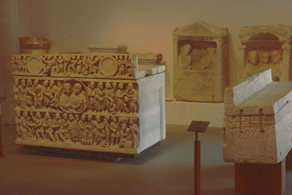 "Sarcophagi at the ""Arles antique"" museum"