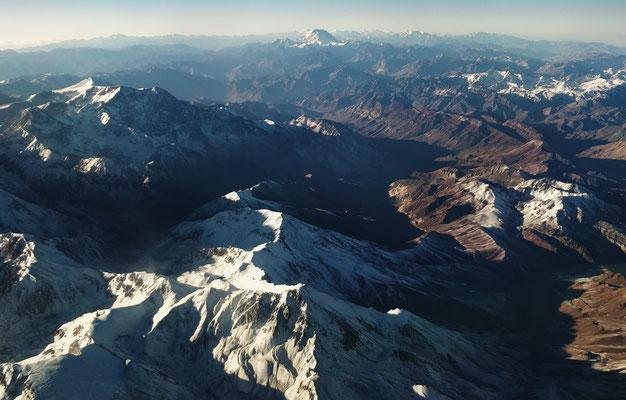Chili cordillère des Andes vue d'avion