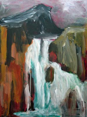 Monika Maier-Speicher - Wasserfall mit schwarzem Gebirge 2021, Acryl auf Leinwand, 80x60 cm