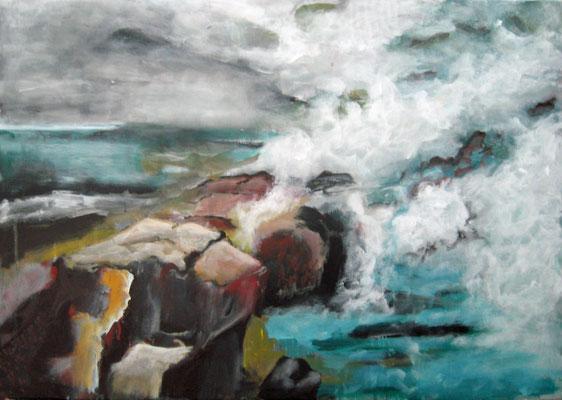 Monika Maier-Speicher - Steine, Dampf und Wasser 2021, Acryl auf Leinwand, 50x70 cm