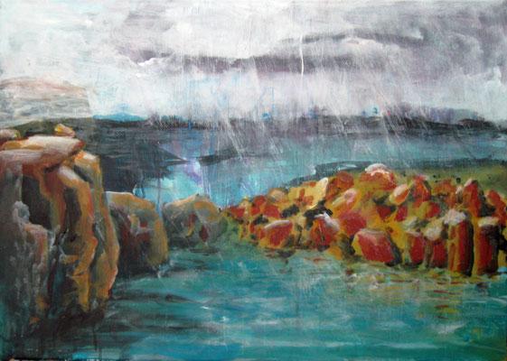 Monika Maier-Speicher - Steine, Wasser und Regen 2021, Acryl auf Leinwand, 50x70 cm