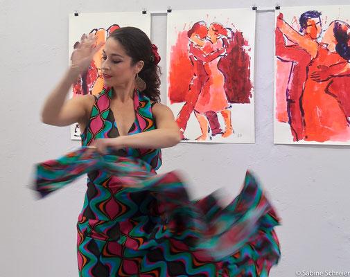Maribel Ximenez tanzt Flamenco und Tango auf dem Sommerfest der GEDOK Heidelberg