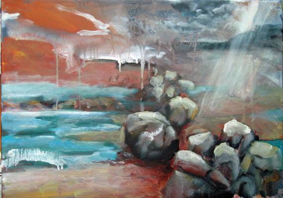 Monika Maier-Speicher - Felsen im Wasser bei Regen 2021, Acryl auf Leinwand, 50x70 cm