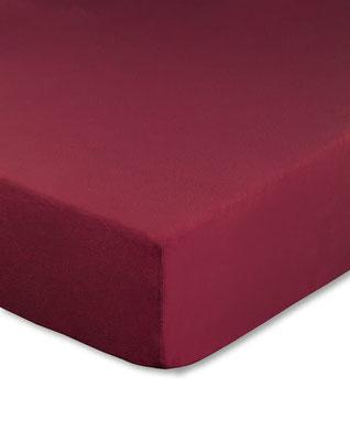 Spannbettlaken mit hohem Seitensteg in Farbe bordeaux