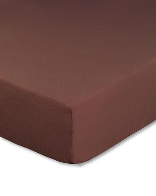 Spannbettlaken mit hohem Seitensteg in Farbe schokobraun
