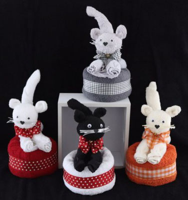 Handtuchfiguren, ein schönes Geschenk in Form einer Katze, verschiedenen Farben