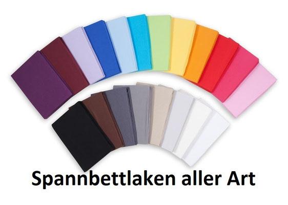 Spannbettlaken in 20 Farben erhältlich - auch für Wasser- und Boxspringbetten, sowie Topper