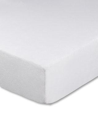 Spannbettlaken für Boxspringbetten, Farbe weiß - Matratze und Topper können zusammen bezogen werden