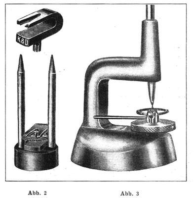 Abb.2 &3 Werkzeuge zum Herunterschlagen der Rolle von einer Unruhwelle