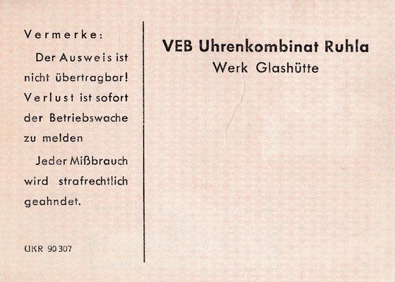 Der neue Betriebsausweis für den Betriebsteil Werk Glashütte des Uhrenkombinates Ruhla