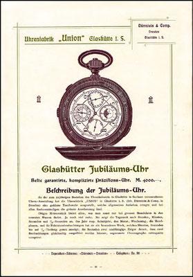 1903 Werbekatalog der Uhrenfabrik UNION Glashütte